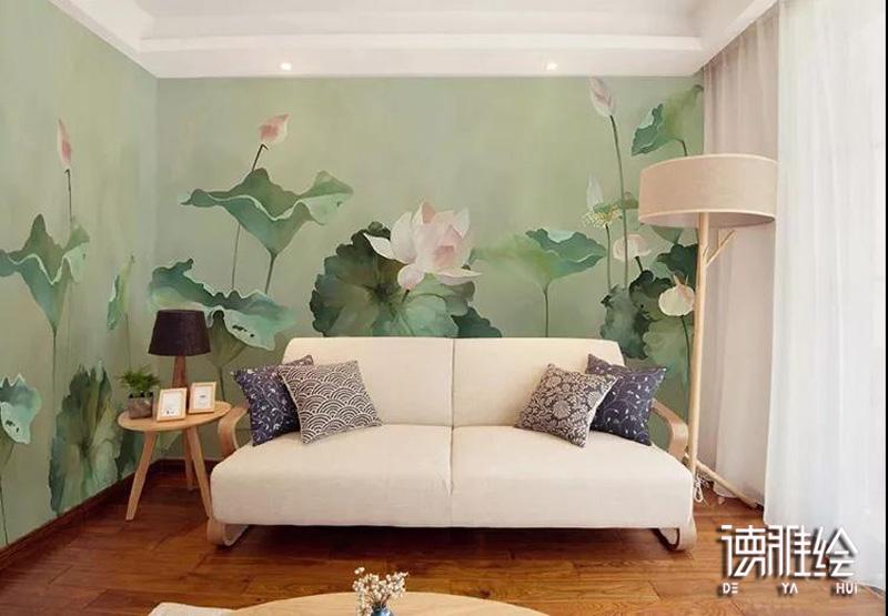 家装背景墙手绘-卧室墙荷花手绘效果