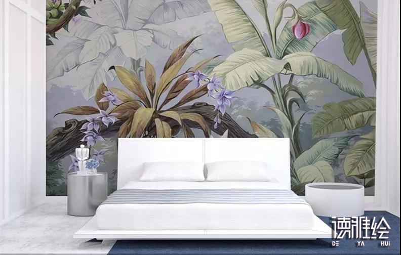 家装背景墙顺手绘-卧室墙雨水林栽物类顺手绘效实