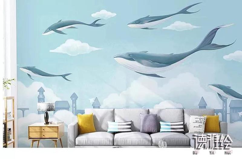 家装背景墙手绘-沙发墙鲸鱼手绘效果