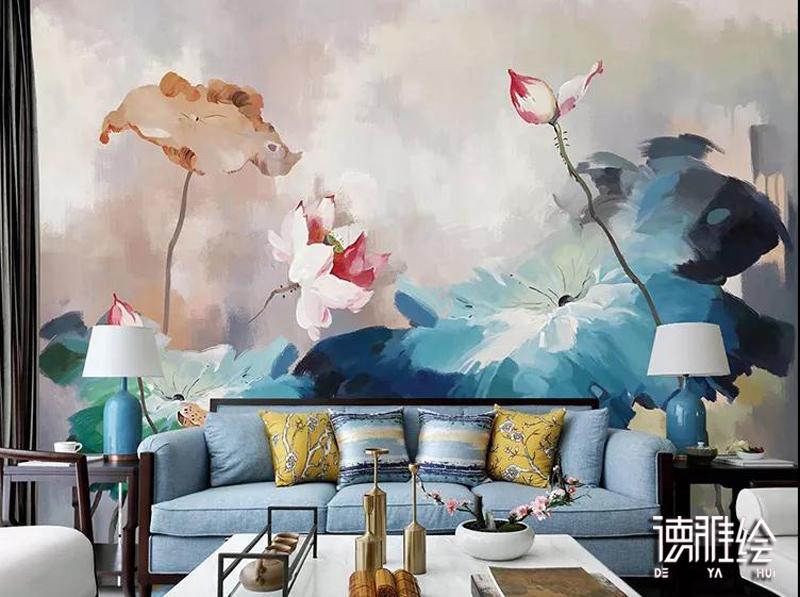 家装背景墙手绘-沙发墙油画荷花手绘效果